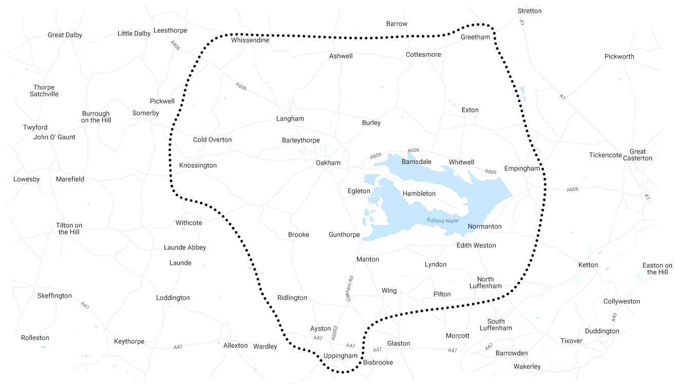 Rutland Cakeaway Delivery Area Map